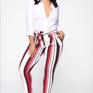 Dressy Burgundy Striped High Rise Straight Legs